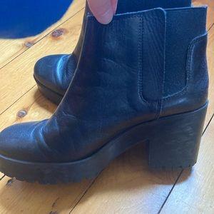 Zara basic collection black leather platform boots